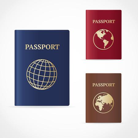passeport: Vector illustration passeport mentionné sur la carte et icône du globe. Design plat Illustration