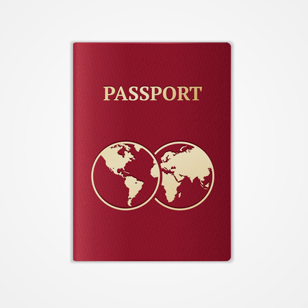 Vector illustration red international passport with map isolated on white background. Flat Design