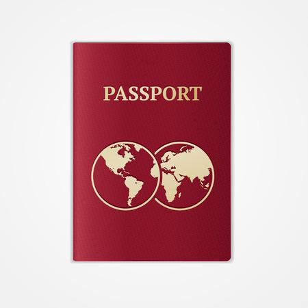 passaporto: Vector illustration rosso passaporto internazionale con mappa isolato su sfondo bianco. Flat Design Vettoriali