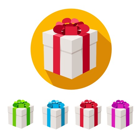 Vector illustration present boxes set with ribbons isolated on white. Flat Design