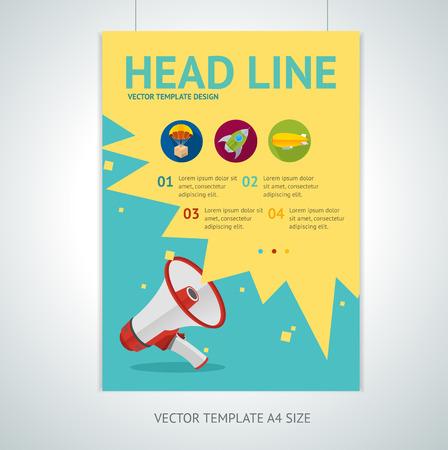 megafono: Ilustración vectorial plantillas de diseño flyer folleto megáfono en tamaño A4. Altavoz símbolo plana. Promoción concepto de marketing Vectores