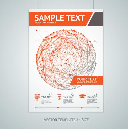 red sphere: Illustrazione di vettore rosso modelli di progettazione brochure sfera in formato A4. Connessioni concetto
