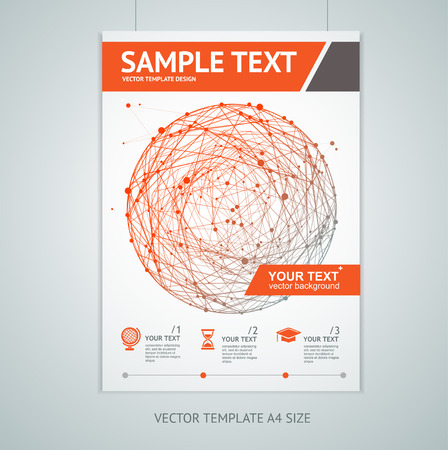 Vector illustration abstract red sphere brochure design templates in A4 size. Connections concept Illustration