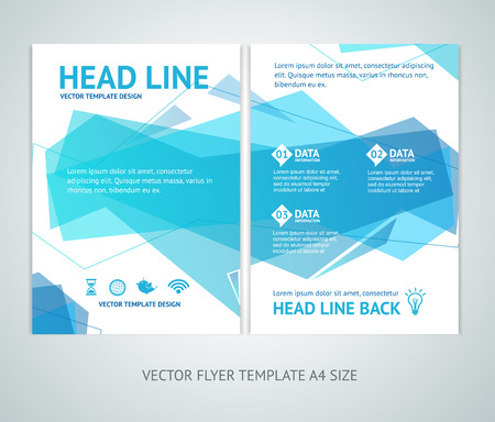 a4: Vector illustration abstract  geometric wave brochure flyer design templates in A4 size Illustration