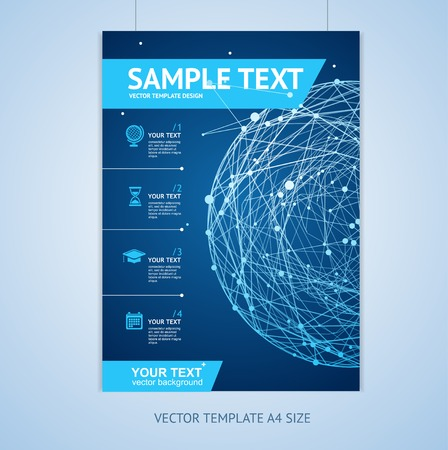 card template: Vector illustration abstract  digital mesh brochure design templates in A4 size. Composition of points lattice. Connections technology concept Illustration