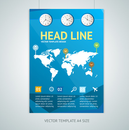 travel concept: Vector illustration maps on a blue background, brochure flyer design templates  in A4 size. Tourism Services Concept.