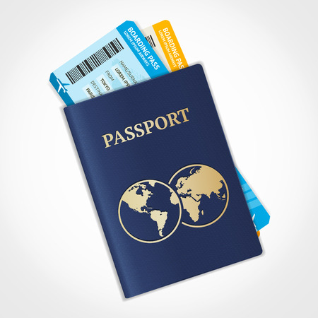 legal document: Ilustraci�n vectorial pasaporte con billetes. Concepto de viajes a�reos. Dise�o Flat