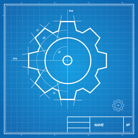 Vector illustration blueprint  and drawing, sketch gear card, development concept.