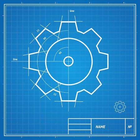 lijntekening: Vector illustratie blauwdruk en tekening, schets gear kaart, ontwikkeling concept. Stock Illustratie