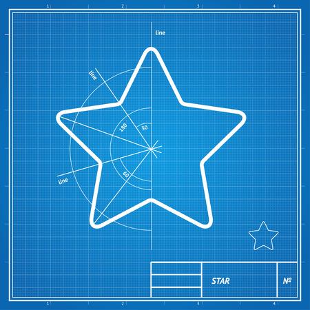 dibujo tecnico: Ilustración vectorial anteproyecto y el dibujo, tarjeta de la estrella boceto.
