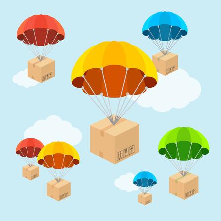 volar: Ilustración del vector. Parachute volar con nubes. Concepto de entrega. Diseño Flat