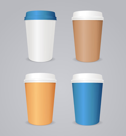 coffee cup vector: Vector illustration of coffee take out. Colorful coffee paper cup set.