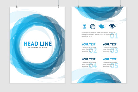 graphic presentation: Vector illustration abstract geometric blue round brochure flyer design templates in A4 size
