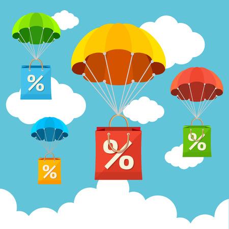 Vector illustratie vliegen in de lucht parachute met een papieren zak verkoop kaart. Flat Design