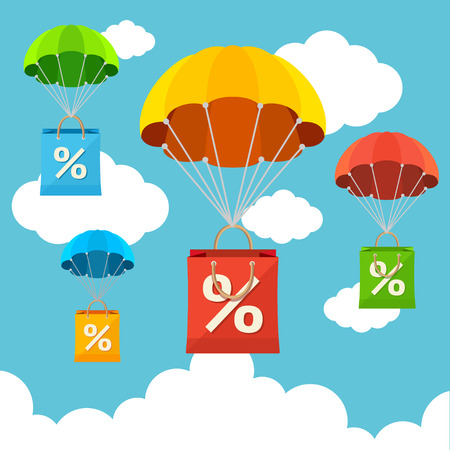 Vector illustration fly in the sky parachute with paper bag sale card. Flat Design Çizim