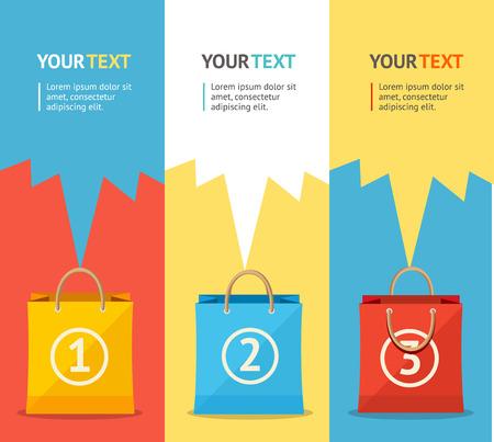 vertical: Ilustración vectorial Banner set venta bolsa de papel vertical. Descuento. Diseño plano Vectores