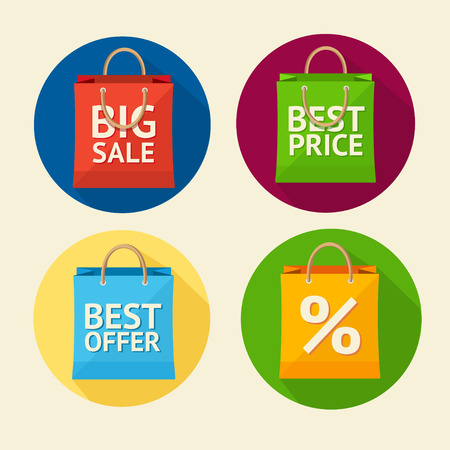 Vector paper bag sale icon set. Best price. Flat Design. Circle buttons