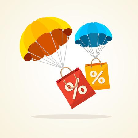 Vector illustration flying parachute with paper bag sale. Seasonal discounts autumn, winter. Flat Design Vettoriali