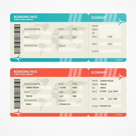 boarding card: Vector illustration airplane tickets. Travel concept. Isolated on white. Enjoy your holiday.