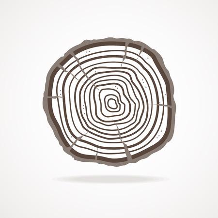 ベクトル図年輪と白い背景で隔離の樹皮。フラットなデザイン