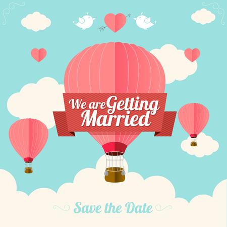 is hot: Ilustraci�n vectorial de color rosa globos de aire caliente vuelan con nubes. Tarjeta de boda. Dise�o Flat