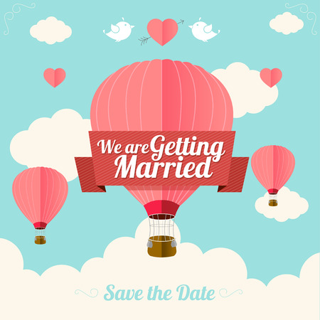 hot: Vector illustration pink hot air ballons fly with clouds.  Wedding card. Flat Design