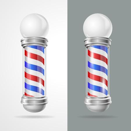 barbero: Ilustraci�n vectorial tienda baber conjunto polo aislado sobre fondo gris y blanco Vectores