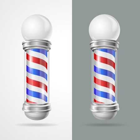 barber pole: Vector illustration baber shop pole set Isolated on grey and white background