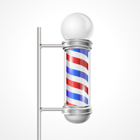 barber pole: Vector illustration baber shop pole with lamp isolated on white.