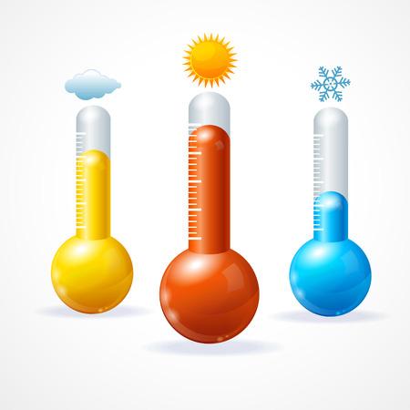 Ilustracji wektorowych thermometr zestaw ikon. Koncepcja ciepłej, zimnej i słonecznej pogody Ilustracje wektorowe