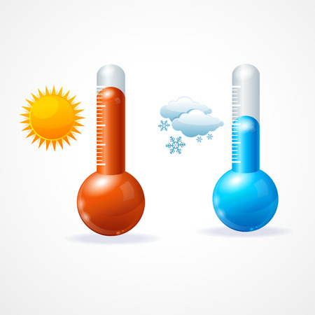 hot and cold: Vector illustration thermometr icon set. Hot, sunny and cold, snowy weather
