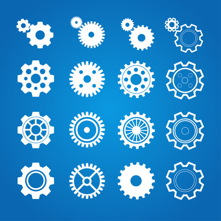 Vector illustration gear icon set isolated on a blue background . Gearwheel mechanism collection. Gear Concept. Flat Design Illustration