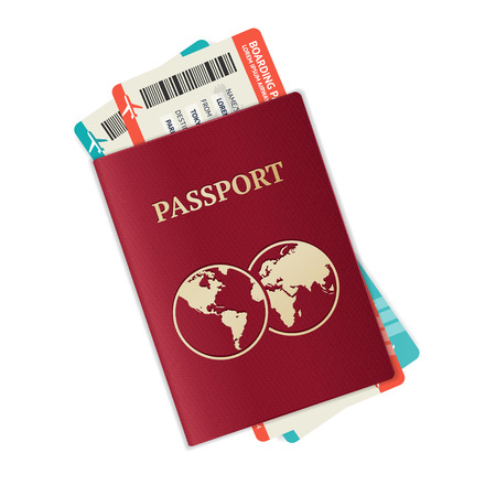 citizenship: Vector illustration passport with tickets. Holiday and vocation concept.