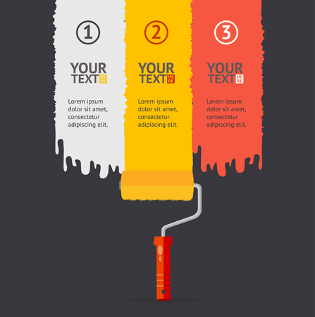 rollerbrush: Vector illustration banner set vertical with colorful rollerbrushes. White, yellow and red isolated on a black background, with place for your text Illustration