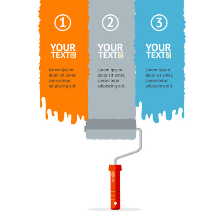 rollerbrush: Vector illustration banner set vertical with colorful rollerbrushes.  Orange, grey and blue isolated on a white background, with place for your text Illustration
