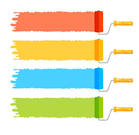Vector illustration rollerbrushes set, four color stripes Vectores