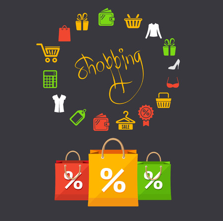 Vector illustration shopping and sale concept card  isolated on a black background Vector