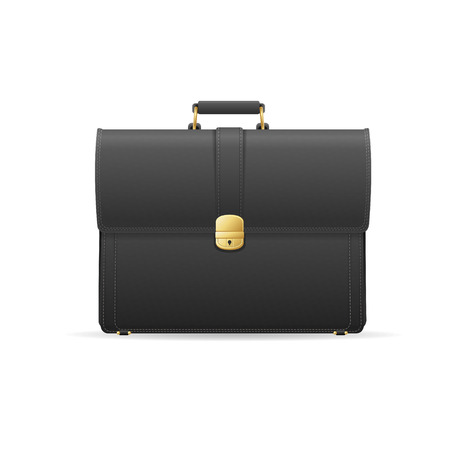 leather briefcase: Vector illustration black briefcase, cuitcase. Marketing and business concept
