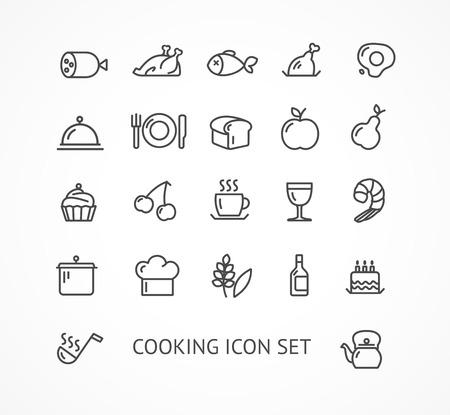 ベクトル イラスト料理アウトラインのアイコンを設定します。黒と白。レストランのコンセプト 写真素材 - 39302177