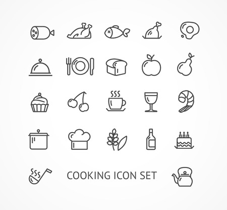 Vector illustration Kochen outline-Icon-Set. Schwarz und Weiß. Das Konzept des Restaurants Illustration