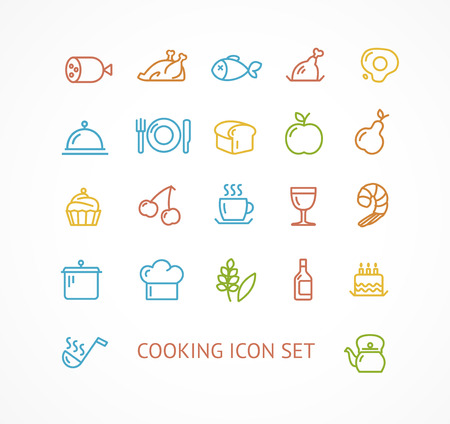 Vector illustration cooking outline colorful icon set.  The concept of the restaurant Vector
