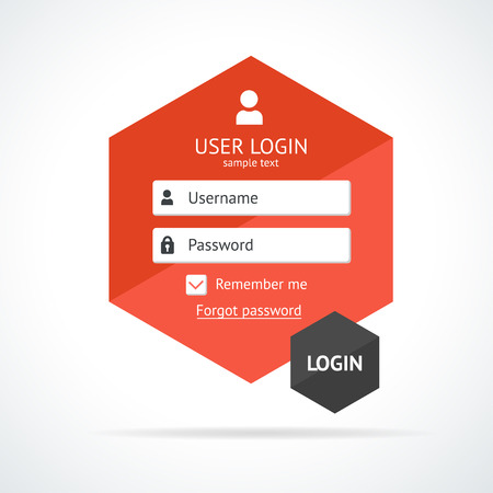 login button: Vector illustration Clean business login form page. Template. Illustration