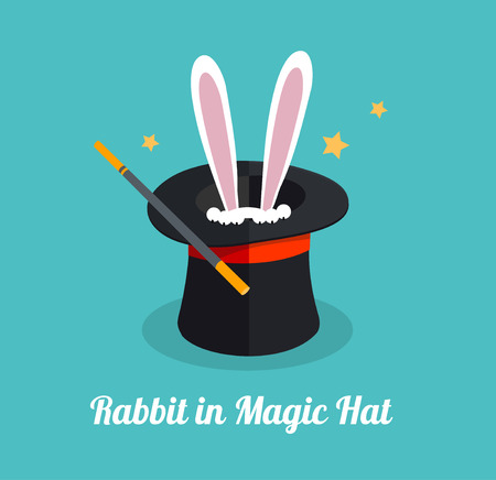 conjuring: Vector illustration rabbit in magic hat. Surprize and magic concept .