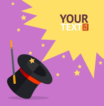 magician hat: Vector colorful illustration in flat design style. Magic hat card, place for your text
