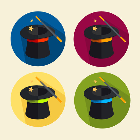 conjuring: Vector illustration magic hat icon set. Circle buttons