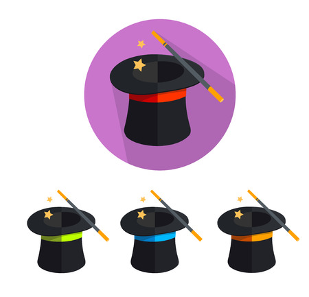 requisite: Vector illustration magic hat icon set isolated on a white background,