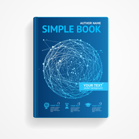 research paper: Vector illustration science book with abstract sphere. scientific research concept. Flat Design Illustration