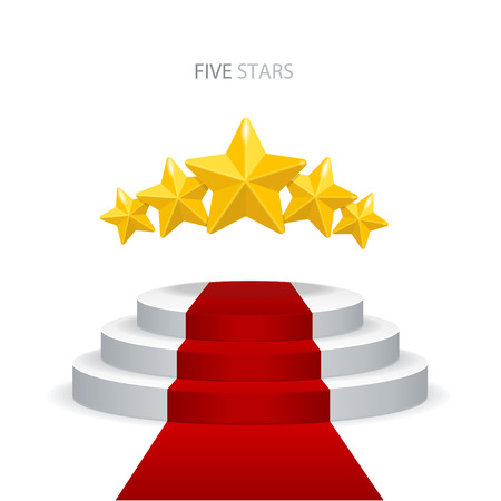 Vector illustration stage podium with red carpet and stars on white background. VIP concept.