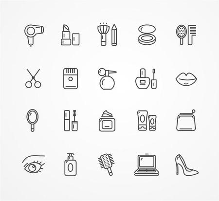 beauty shop: Ilustraci�n del vector del icono de belleza esquema establecido. blanco y negro. El concepto de tienda de belleza