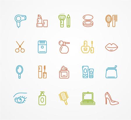 beauty shop: Vector illustration  colorful beauty outline icon set. The concept of beauty shop